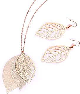 Leaf Earrings and Long Necklaces Set for Women Boho Gold-Tone Multi Tiered Leaves Delicate Chain Dangle Necklace SimpleLeaf Statement Dangling Earrings
