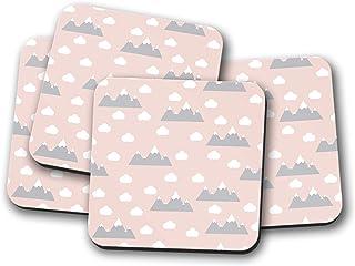 Posavasos rosa con un tema al aire libre de diseño de nubes y montañas, posavasos individuales o juego de 4