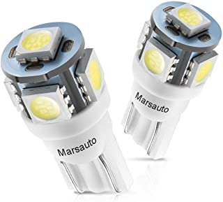 Marsauto 194 LED Bulbs 168 T10 2825 5SMD LED Bulbs Car Dome Map License Plate Lights Lamp White 12V (Pack of 2)