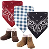 Hudson Baby Unisex Baby Cotton Bib and Sock Set, Cowboy, One Size