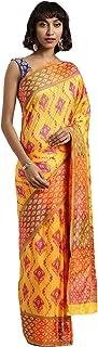 Indian Saree for Women Ethnic Sari Yellow Ikkat Art Silk Sari with Unstitched Blouse. ICW2778-2