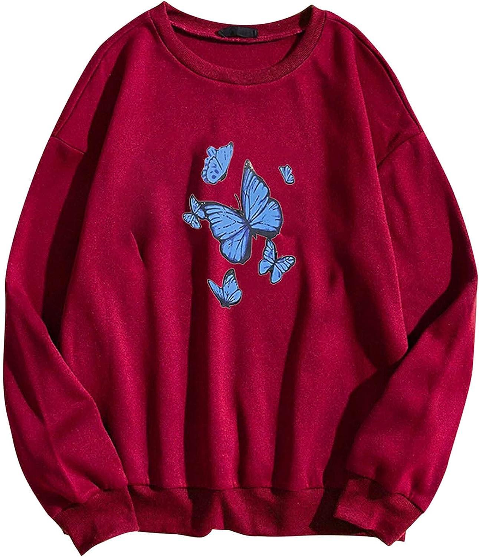 Women Long Sleeve Sweatshirt Fashion Printing trend rank O Casual Popular brand in the world Butterfly