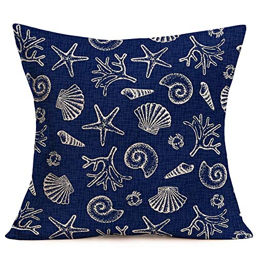 Hopyeer Nautical Coastal Outdoor Throw Pillows Cover Ocean Beach Sea Marine Life Starfish Seashell Conch Scallop Coral Crab Pillow Cover Cotton Linen Pillow Cover for Couch 18'X18' Navy Blue(NC-Beach)