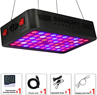 LED Grow Light with Lens,SAHAUHY 600W Full Spectrum Plant Lights Veg & Bloom Double Switch with Thermometer Humidity Monitor and Adjustable Rope for Indoor Plants Veg Flower(1-Packs)