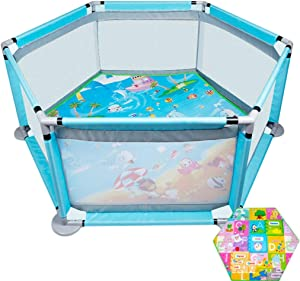 ZAQ Small Play Pen with Pad Baby Toddler Girls Boys Safety Game Fence For Home Indoor Floor  0-2 Years Old  Color Blue