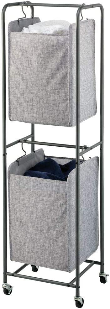 mDesign Vertical Stacked Laundry Hamper Wheels Tampa Mall Port 67% OFF of fixed price with Basket
