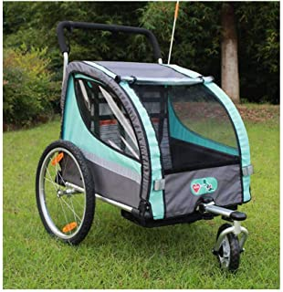 Children Bike Trailer 2in1 Kids Jogger Stroller with Suspension 360° rotatable Childs Bicycle Trailer Transport Buggy Carr...