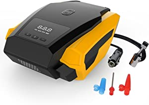 HMK Digital Car Tyre Inflator  Portable Air Compressor Tyre Pump  Tyre Pressure Gauge Fixed Value Auto Stop with LED Lamp 12V 150 PSI Valve Adapters