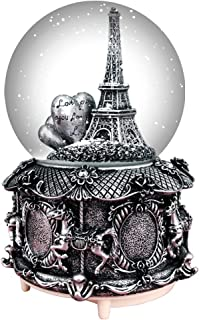HIKEL Paris Snow Musical Globes Retro Eiffel Tower and Carousel Base Water Globe for Birthday Gifts Kids Girls Gift Creative Desktop Decoration (Silver)