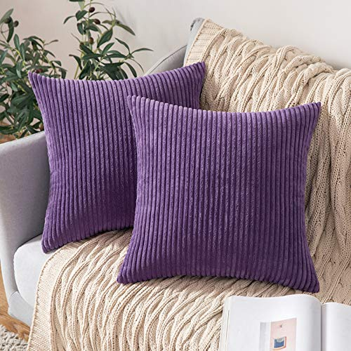 MIULEE Striped Corduroy Fabric Square Throw Pillow Case,Solid Cushion Cover Sham Home for Sofa Chair Couch/Bedroom Decorative Pillowcases 18x18 inch 45x45cm 2 Pieces Purple
