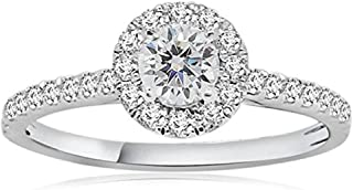 14K White Gold Over 0.56 ct Round Brilliant Cut Petite Micro Pave Halo Simulated Diamond CZ Engagement Ring