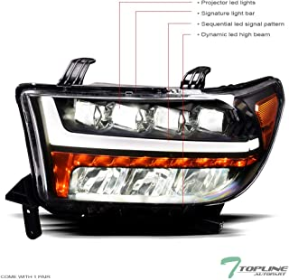 Topline Autopart Black Housing Full LED Sequential Quad...