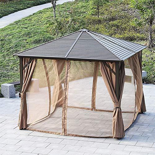 DZWJ 3 x 3 M Patio Aluminium Pavillon, Hardtop Metalldach Baldachin Party Zelt Garten Outdoor Shelter