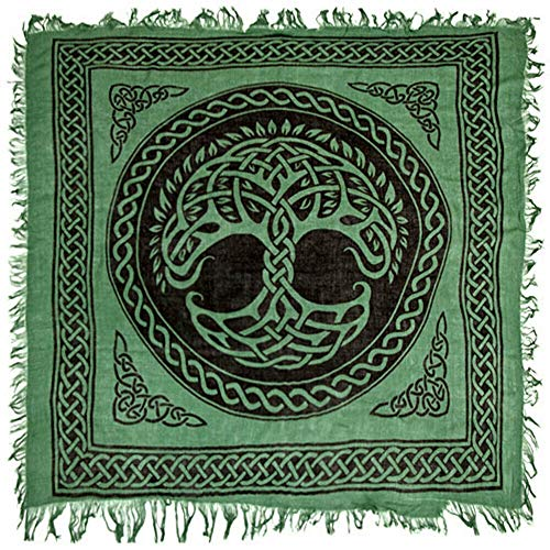 Tapestry Celtic Tree of Life Altar Cloth 36' Green Wicca Pagan Square Rayon Fringed #GRG20