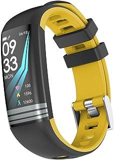 LTLJX Mujer Deportivo Reloj Fitness Pulsómetro Pulsera Inteligente Hombre Podómetro IP67 Impermeable 0,96 Pulgadas HR Smartwatch Cronómetros para iOS Android,Amarillo