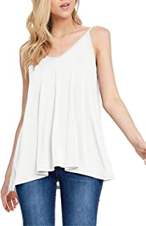 Twinklady Women's Summer Sleeveless V-Neck Spaghetti Straps Loose Fit Flowy Tunic Tank Tops S-XXL