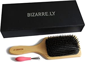 Professional hair brush for unravelling, disentangling/boar bristle brush with hair removal tool by Bizarre.ly, the best entangler made of wood, can be used for blow drying and smoothing