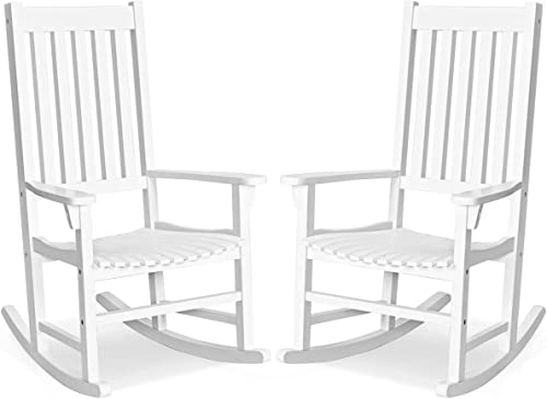 discount Giantex Rocking Chair Acacia Wood Frame Outdoor& sale Indoor for Garden, Lawn, Balcony, Backyard discount and Patio Porch Rocker (2, White) sale