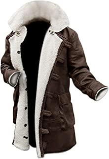 Bane Dark Knight Rises Tom Hardy Shearling Winter Ginger Brown Trench Leather Coat
