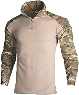 Military Ba Men's Tactical Combat Shirt and Pants Set Long Sleeve Multicam Woodland BDU Hunting Military Uniform 1/4 Zip