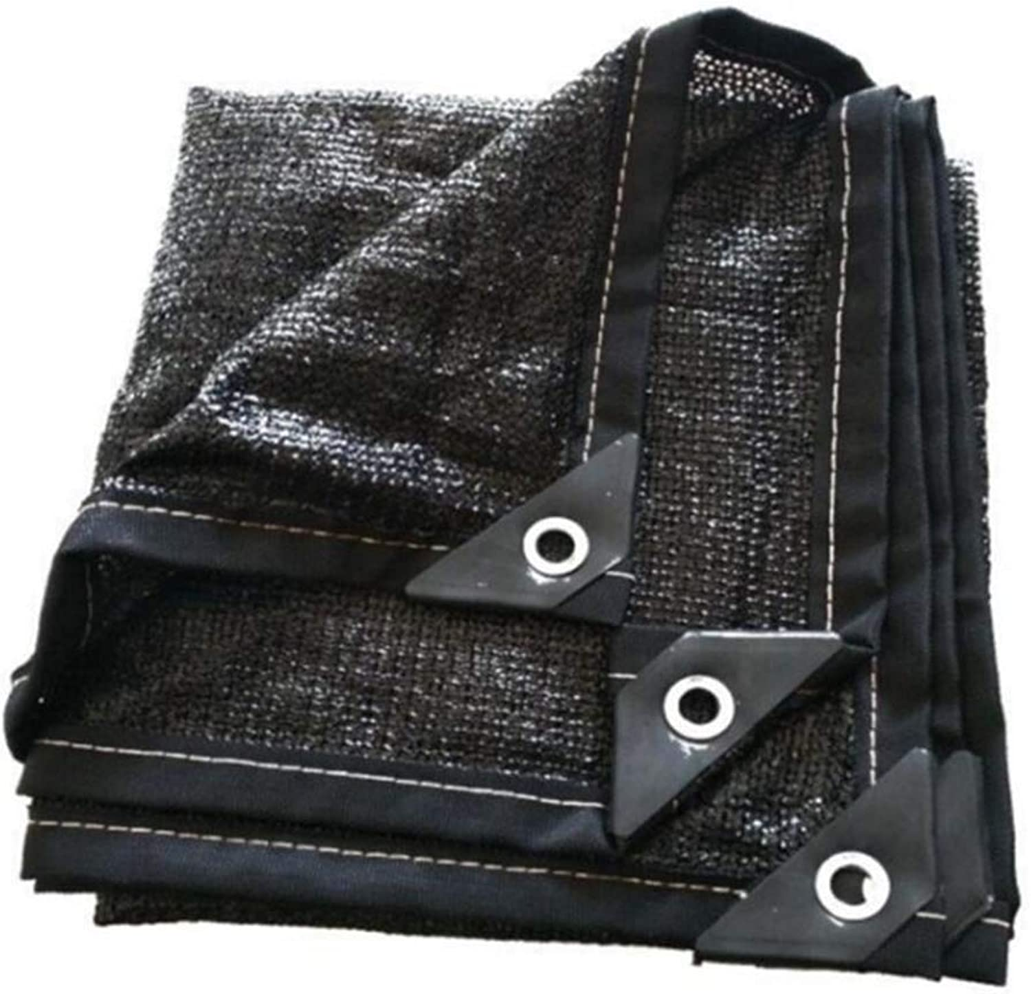 Shade Cloth, Shade Sails Shade Cloth Shading Net Sun Mesh 6pin Thickened Package Edge Decorative Potted Breathable Balcony and Other Uses (color   Black, Size   2  5)