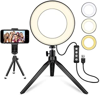 "LED Ring Light 6"" with Tripod Stand for YouTube Video and Makeup, Mini LED Camera Light with Cell Phone Holder Desktop LED..."