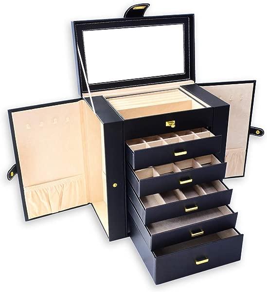 JSRANIS Jewelry Organizer Box Luxury Leather Case Storage For Girls Women Necklace Ring Earring Bracelet Shelf Organizer Large Jewelry Box With 5 Drawers Black