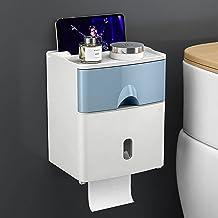 Toiletrolhouder, zelfklevende toiletpapierdispenser, met telefoonplank, wandmontage, toiletpapierhouder-blauw