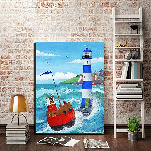 ganlanshu Rahmenlose MalereiAbstract Sea Lighthouse Wohnkultur Bild für Kinderzimmer blau Seestück Leinwand Gemälde60X108cm