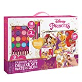Make It Real - Disney Princess Fashion Watercolor Sketchbook. Disney Princesses Water Coloring Book for Girls. Includes Princess Sketch Pages, Paint Brushes, Watercolor Paints, Stencils and Stickers