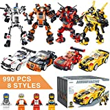 YUOIOYU STEM Robot Building Blocks Toys 990 PCS Cars Set Vehicles Transformers Building Bricks Toys Kit for Kids Aged 6 7 8 9 10 11 12 Years Old