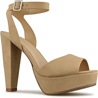 Women's Platform Ankle Strap High Heel - Open Toe Strappy Buckle Sandal Pump - Formal Party Chunky Dress Heel