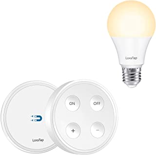 LoraTap Dimmable A19 E26 LED Light Bulb with 656ft Range Wireless Remote Controller Dimmer Switch with Magnetic Base for House Lighting, 3 Color Changing, 8.5W (Equivalent 60W), No Hub Required