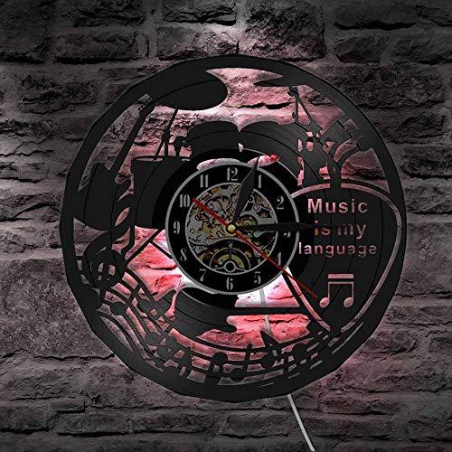 Reloj de pared de vinilo con diseño de banda musical, diseño de guitarra, música es mi idioma, reloj de pared, decoración de teatro, regalo para amantes de la música, luces LED