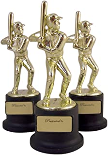 Pack of 3 Black and Gold Sports Award Trophies for Teachers and Kids, 5 Inch (Baseball)