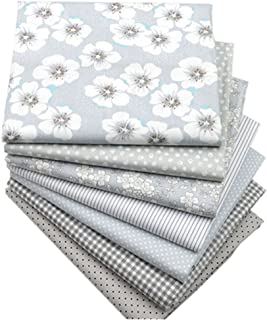 Hanjunzhao Quilting Fabric,Grey Fat Quarters Fabric Bundles,100% Cotton Fabric for Sewing Crafting,Print Floral Striped Polka Dot Gingham Fabric,18