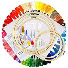 Valuable Set: The most complete beginner embroidery kit is equipped with all the tools you use for embroidery. Just with this kit, you can finish a nice embroidery Common Size: 12 by 18-inch aida, embroidery hoop use dimensions: 6.1 inch (15.5cm), 6....