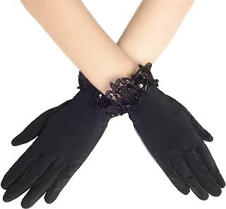 U.mslady Womens 1920s 14.9 Long Satin Finger Gloves White
