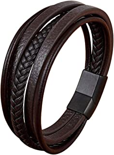 Mens Multi-Layer Braided Leather Bracelets with Magnetic Clasp Leather Cuff Bracelets for men Genuine Leather Bracelet men...