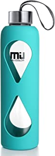 18oz Glass Water Bottle MIUCOLOR - Anti-Slip Silicone Sleeve with Eco-Friendly Shatter Resistant Borosilicate Glass Bottle, BPA, PVC, Plastic and Lead Free