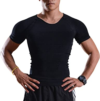 Image Camisa de Compresión, Body Shaper para Hombres, Camiseta de Compresión para Hombres, Camisa de Compresión Muscular para Gimnasio, Camiseta ...