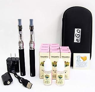 電子タバコ eGO-T CE-4 本体2本セット&リキッド10本付き!オリジナルステッカー封入。大容量1100mAh キャリングケース 電子たばこ 安心検査済みリキッド 禁煙グッズ (メンソールリキッド10本セット)