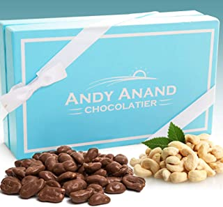 Andy Anand Sugar Free Belgian Milk Chocolate Cashews, Gift Boxed & Greeting Card, Delicious, Succulent & Divine Birthday Valentine Christmas, Holiday Anniversary Mothers Fathers Day (1 LBS)