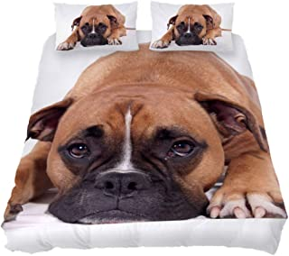 LORVIES Duvet Cover Set Beautiful Boxer Dog Comforter Bedding Sets Soft 3 Piece Twin Size with 2 Pillow Shams Hypoallergenic Soft and Comfortable Zipper