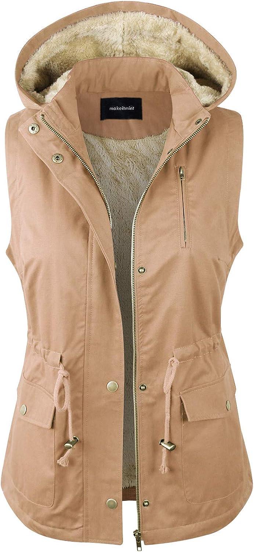 makeitmint Women's Detachable Hooded Faux Fur Lined Anorak Utility Jacket Vest