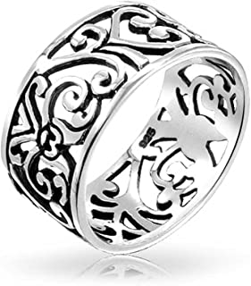 Boho Fashion 925 Sterling Silver Open Swirl Filigree Wide Band Ring For Teen For Women 7MM
