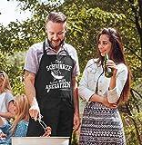 MoonWorks® Grill-Schürze für Männer mit Spruch Das Schwarze kann Man abkratzen Spruch lustig Grillen Baumwoll-Schürze Küchenschürze schwarz Unisize - 2