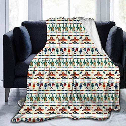 Amanda Walter Blanket Home Nette Weiche Mexikanische Lateinamerikanische Kultur Einheimische Grenzen Indigene Saguaro Sombrero Tequila Flasche Multicolor Für Sofa Chair Bed