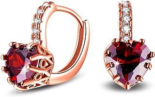 Uloveido, Orecchini pendenti placcati in oro rosa con zirconia cubica a forma di cuore di colore blu o rosso, con chiusura...