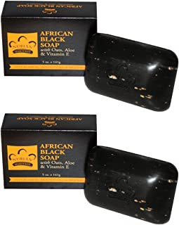 Nubian Heritage African Black Soap Bar With Oats, Aloe, Vitamin E, Shea Butter, Coconut Oil, 5 oz (141 g) (Pack of 2)